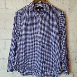J Crew Blue Gingham Half Button Popover